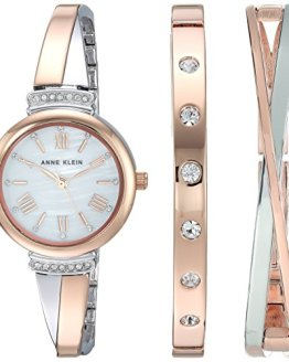 Rose Gold-Tone and Silver-Tone Bangle Watch and Bracelet Set Anne Klein