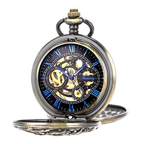 Pocket Watch Antique Dragon Mechanical Skeleton SIBOSUN Double Cover