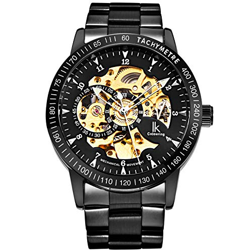 Skeleton Silver Golden Dial Tachymeter Automatic Mechanical Wristwatch