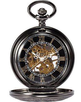 Skeleton Mechanical Copper Fob Retro Pocket Watch