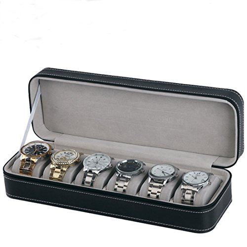 Homeater 6 Slot Watch Box Portable Travel Zipper Case