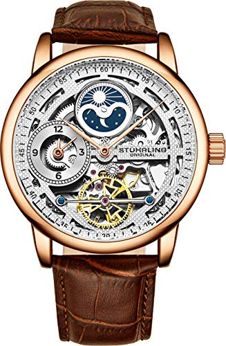 Stührling Original Rose Gold Watch for Men Skeleton Watch