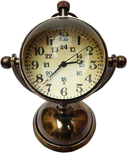 Nautical Desk Ship Clock with Magnetic Compass
