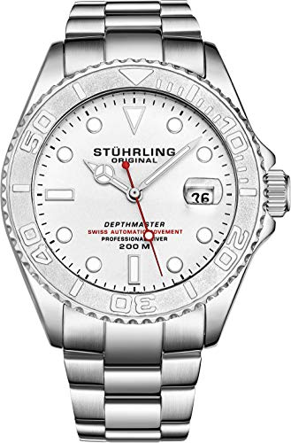 """Mens Swiss Automatic Stainless Steel Professional""""DEPTHMASTER"""" Dive Watch"""