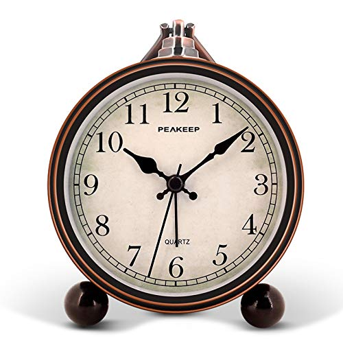 "Peakeep 4"" Battery Operated Antique Retro Analog Alarm Clock"