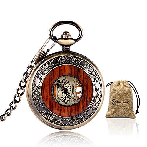 Vintage Bronze Wooden Mechanical Pocket Watch