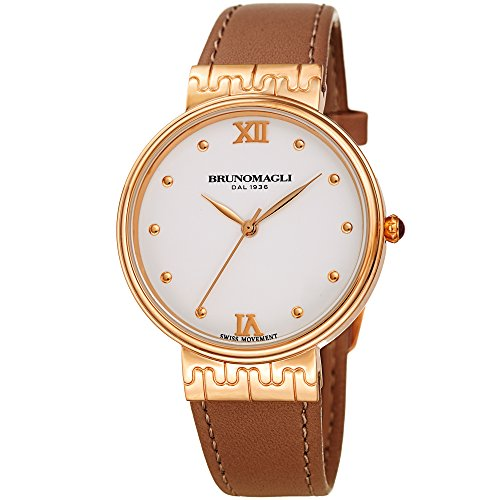 Rose Gold with Brown Italian Leather Strap Watch