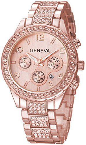 Unisex Luxury Pave Floating Crystal Diamonds Quartz Watch