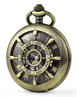 SEWOR Retro Delicate Gear Type Pocket Watch with Two Chains Leather