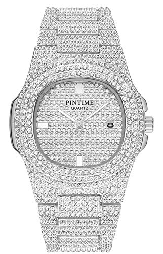 Crystal Watch Bling Iced-Out Watch Oblong Silver/Gold