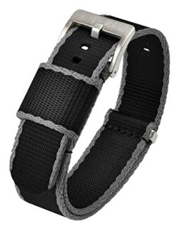 22mm Black / Grey Edges - BARTON Jetson NATO Style Watch Strap