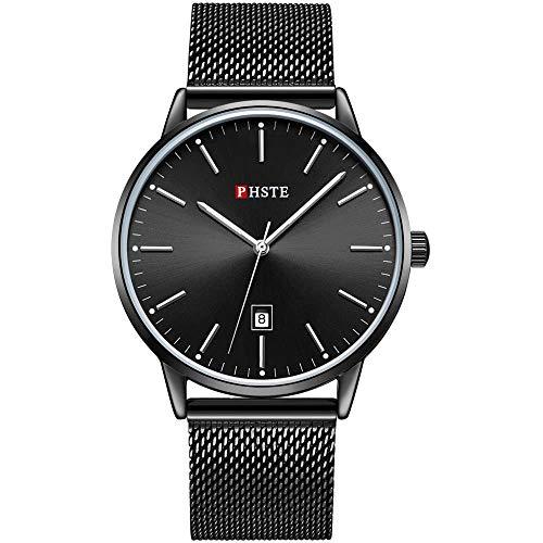 PHSTE Mens Watches 7.2mm Slim Simple Analog Quartz Date