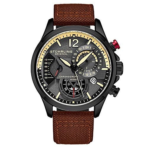 Aviator Sports Watch with Leather Band