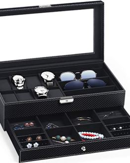 Watch Case Weave Pattern Lockable with Glass Top