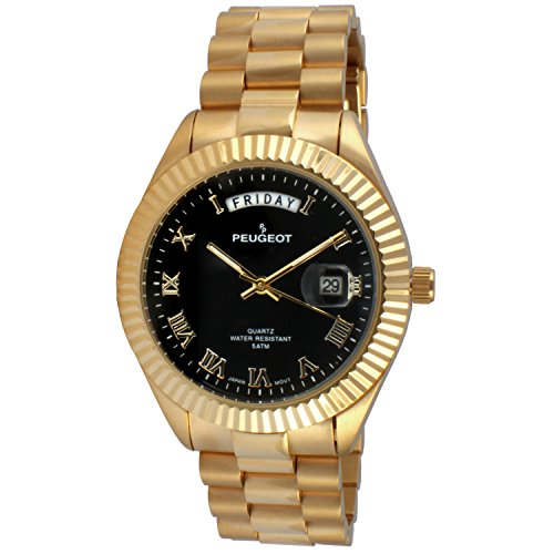 14K All Gold Plated Big Face Luxury Watch