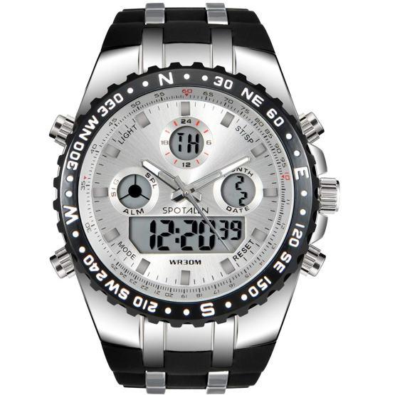 l Analog Digital Backlight Watch Black Silicone Band