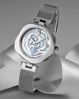 Rose Flower Women Wristwatch Leather Strap