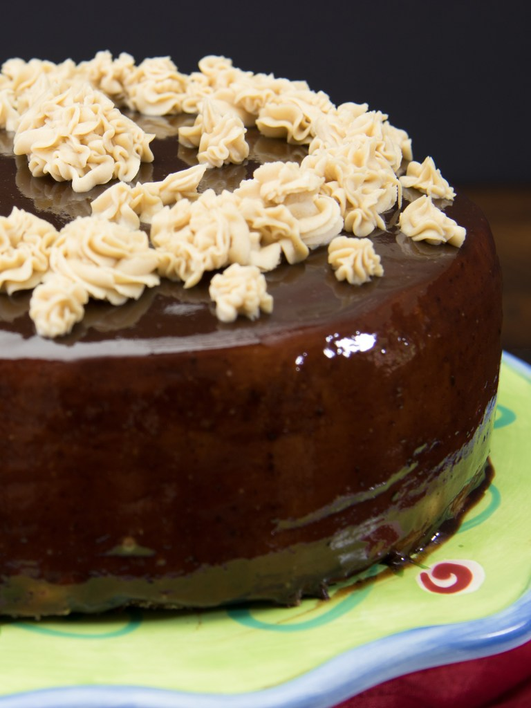 Salted Caramel Frosting on Chocolate Mirror Cake