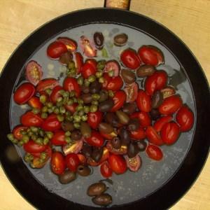 Branzino with Tomato Olive Sauce Step 2