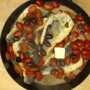Branzino with Tomato Olive Sauce Step 3