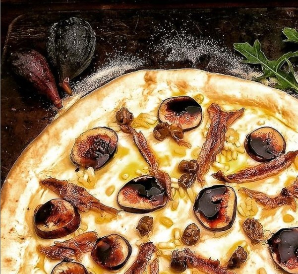 Anchovy & Fig White Pizza Drizzled with Balsamic Reduction