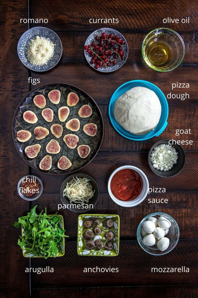 Anchovy, Goat Cheese & Fig Pizza - Ingredients