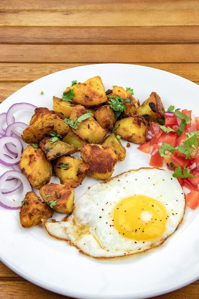 Indian potatoes with egss - Bombay Aloo, Jeera Aloo, Breakfast Eggs
