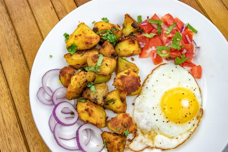 Indian Potato Recipe - Bombay Aloo - with eggs