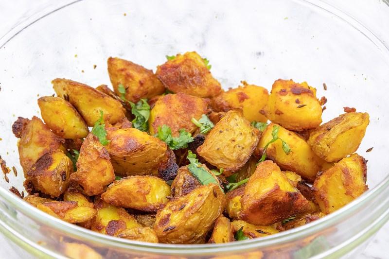 Oven roasted Indian Potato Recipe - Bombay Aloo