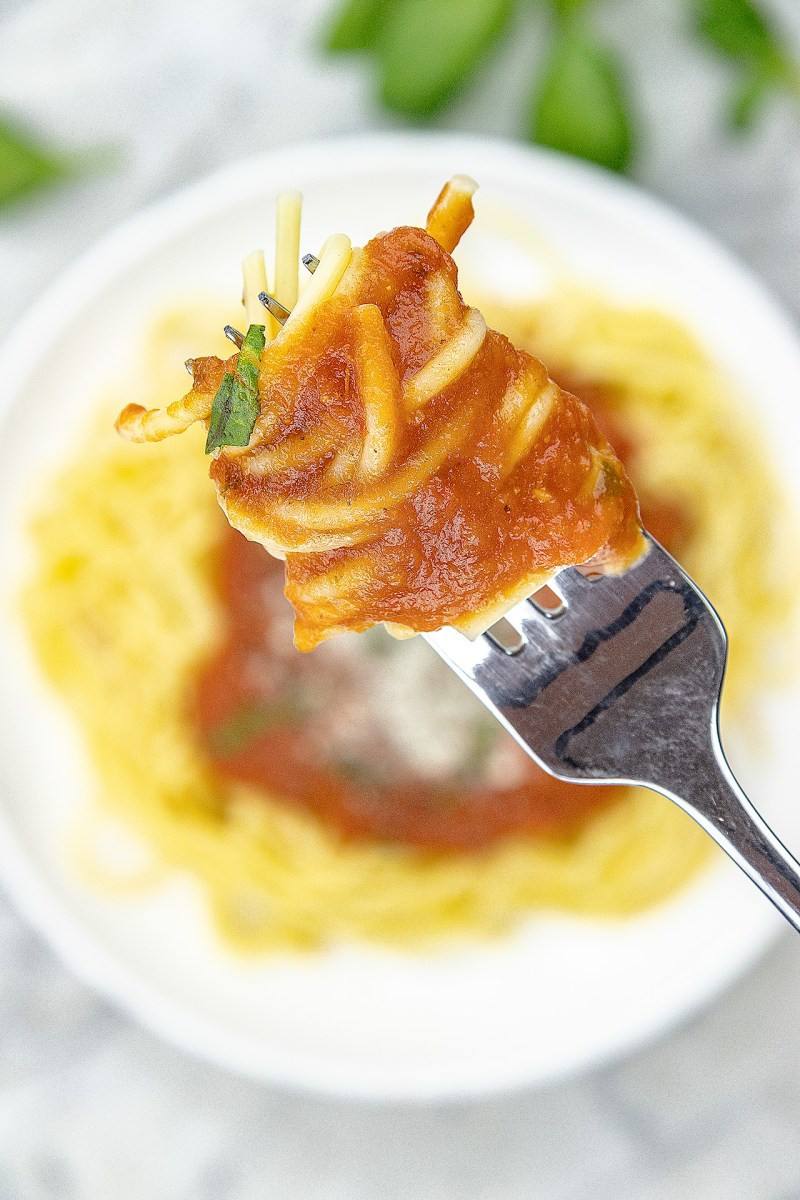Thick spaghetti sauce on fork