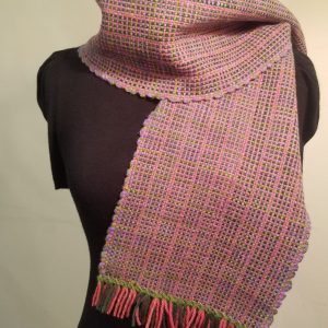 Handwoven Scarf, CormoX Yarn from the Flock – Pink/Green