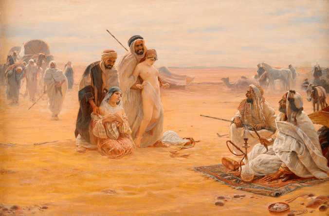 European women sold on a Muslim slave market
