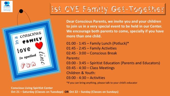 1st CYE Family Get Together (October 21st & 22nd)