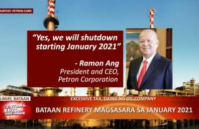 Petron refinery sa Bataan magsasara sa Enero 2021