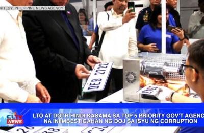 LTO at DOTr hindi kasama sa Top 5 priority government agency na iniimbestigahan ng DOJ sa isyu ng corruption