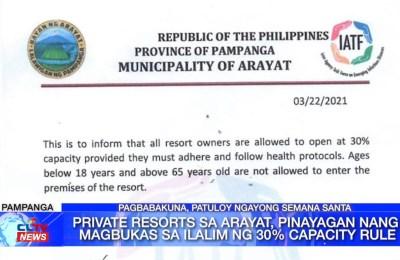 Private resorts sa Arayat, pinayagan nang magbukas sa ilalim ng 30% capacity rule | Pampanga News