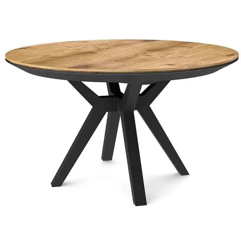 table a manger ronde extensible bois clair pieds hetre massif noir lisbonne