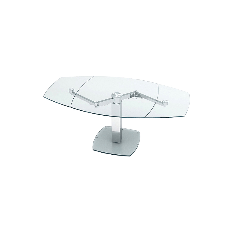 table a manger extensible verre trempe et metal lina