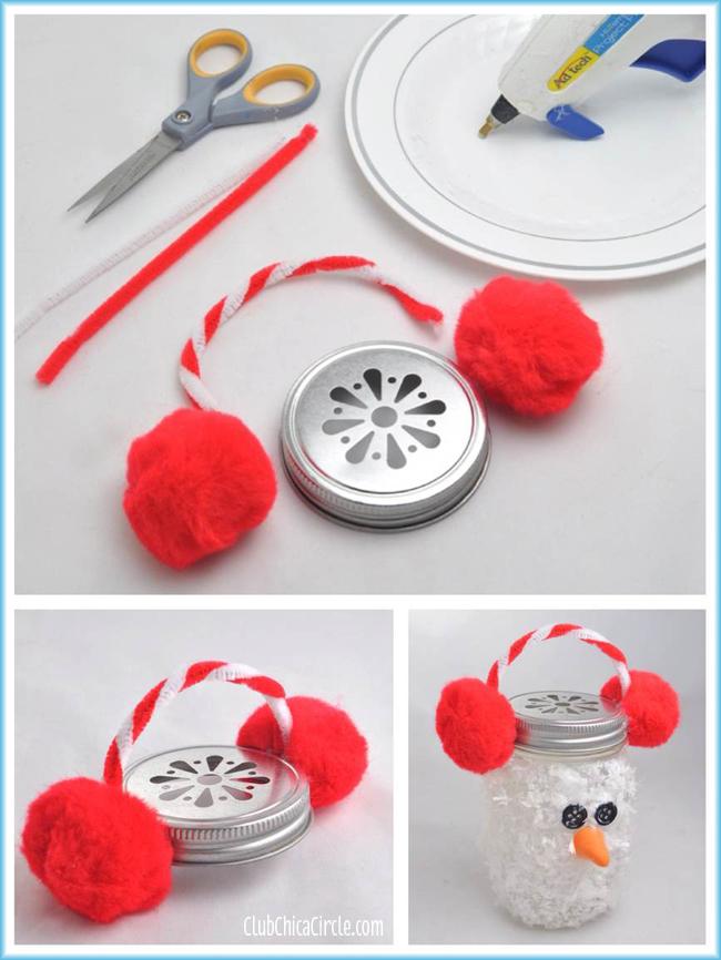 Snowman Mason Jar Luminary Ornament Craft