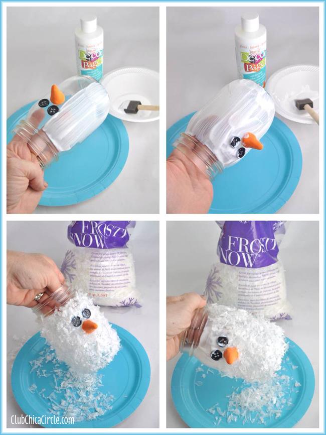 Snowman Mason Jar Luminary Ornament DIY @clubchicacircle
