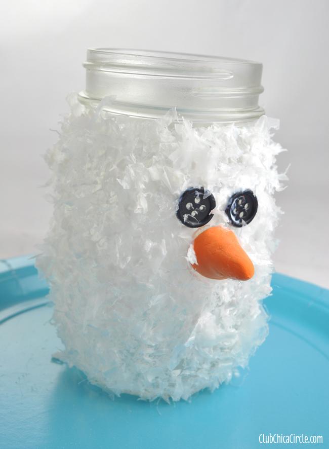 Snowman Mason Jar Luminary Ornament with Frosty Snow