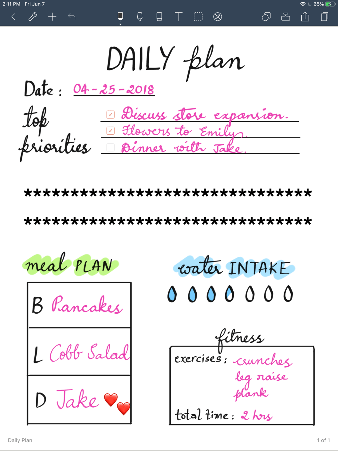 daily plans filled Noteshelf template