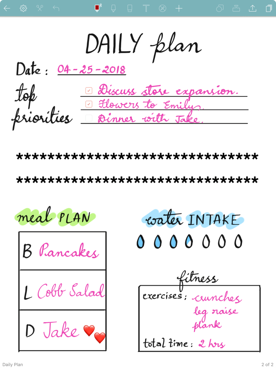 daily plans filled Noteshelf 2 template