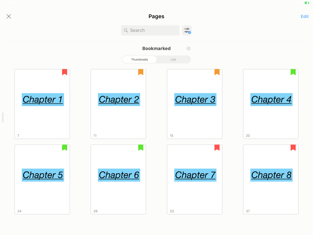 Naming your bookmarks in Noteshelf