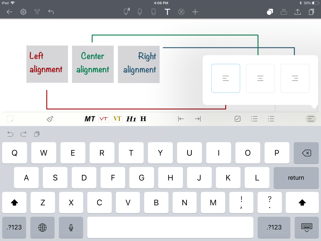 Text alignment for text notes in Noteshelf 2