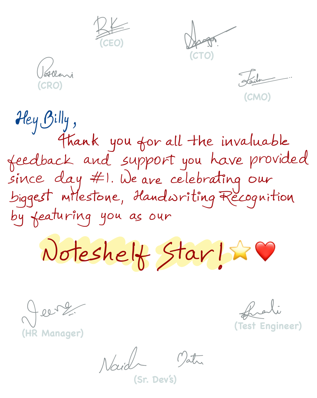 Thank you note to Billy Abrams Noteshelf Star