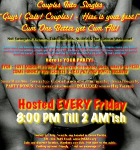 Couples Into Single Guys Fest – Hot Dinner & Hot Fun! Big Party! @ Club3X | Cocoa | Florida | United States