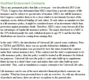 IRS rules and modified endowment contracts
