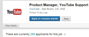 289 applicants PM for Youtube