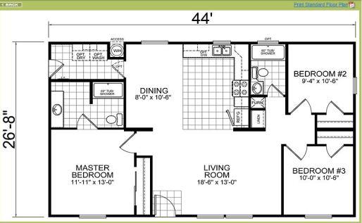 1153 sq ft modular 3BR 2BA